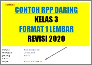 Download RPP Daring SD Kelas 3 Guru Kelas Rendah