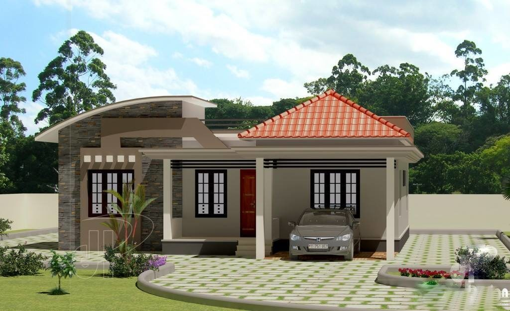 Beautiful low cost 3 bedroom home plan in 1309 sqft free for Beautiful 5 bedroom house plans with pictures