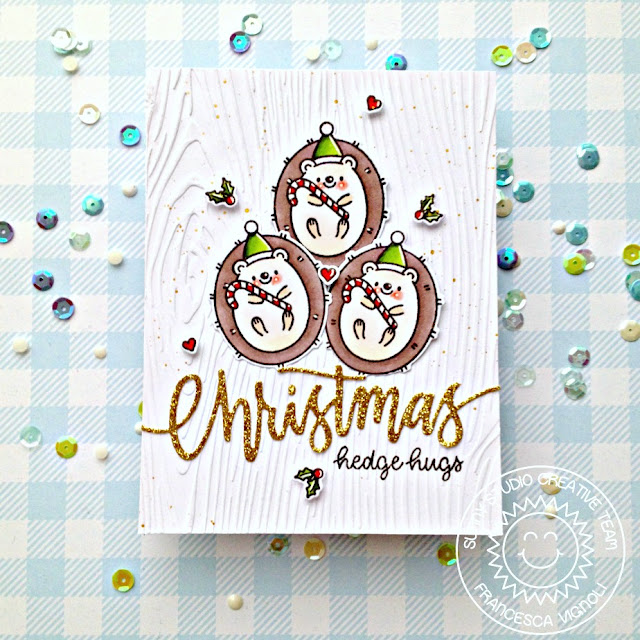 Sunny Studio Stamps: Hedgey Holidays Alpaca Holiday Christmas Garland Frame Dies Hedgehog Themed Christmas Card by Franci Vignoli
