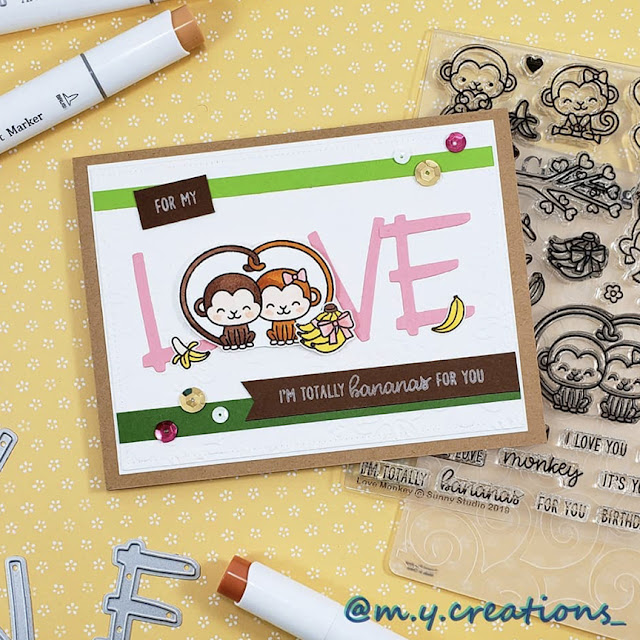 Sunny Studio Stamps: Love Monkey Customer Card by Melissa Y