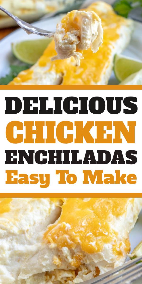 Delicious Creamy Chicken Enchiladas are an easy, mouthwatering meal that your family should definitely make for dinner tonight! Even your kids will come back for seconds! #chicken #enchiladas #creamy #chickenenchiladas #rotisseriechicken #dinner