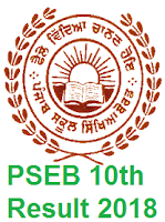 Punjab 10th Result 2018, PSEB Matric Results 2018