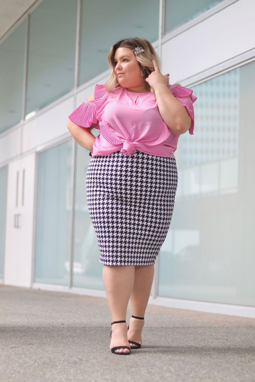 Chicago Plus Size Petite Fashion Blogger, influencer, YouTuber, and model Natalie Craig, of Natalie in the City, partners with Gordmans for Breast Cancer Awareness Month to raise money for the The Breast Cancer Research Foundation.