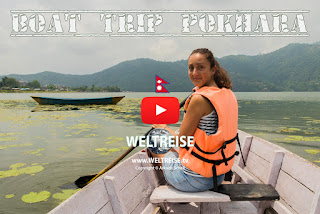 Boating in Pokhara Phewa Lake in Nepal. World Travel in Nepal Arkadij Schell www.WELTREISE.tv