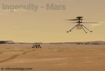 المروحية إنجينويتي Ingenuity التابعة لوكالة ناسا تنجح في التحليق على سطح المريخ في أول طيران لمروحية من صنع البشر خارج نطاق الأرض !