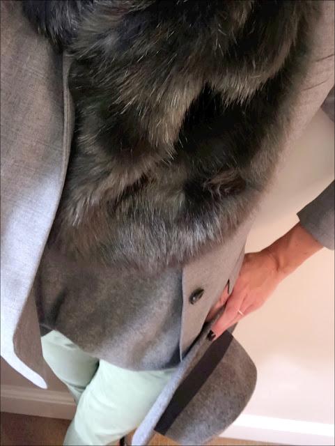 My Midlife Fashion, Coast faux fur stole, j crew regent blazer, zara khaki chinos, zara oversized cashmere crew neck jumper, hush thornton ankle boots, felt fedora hat