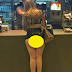 Woman orders burger in Majorca with her whole bum out in the open