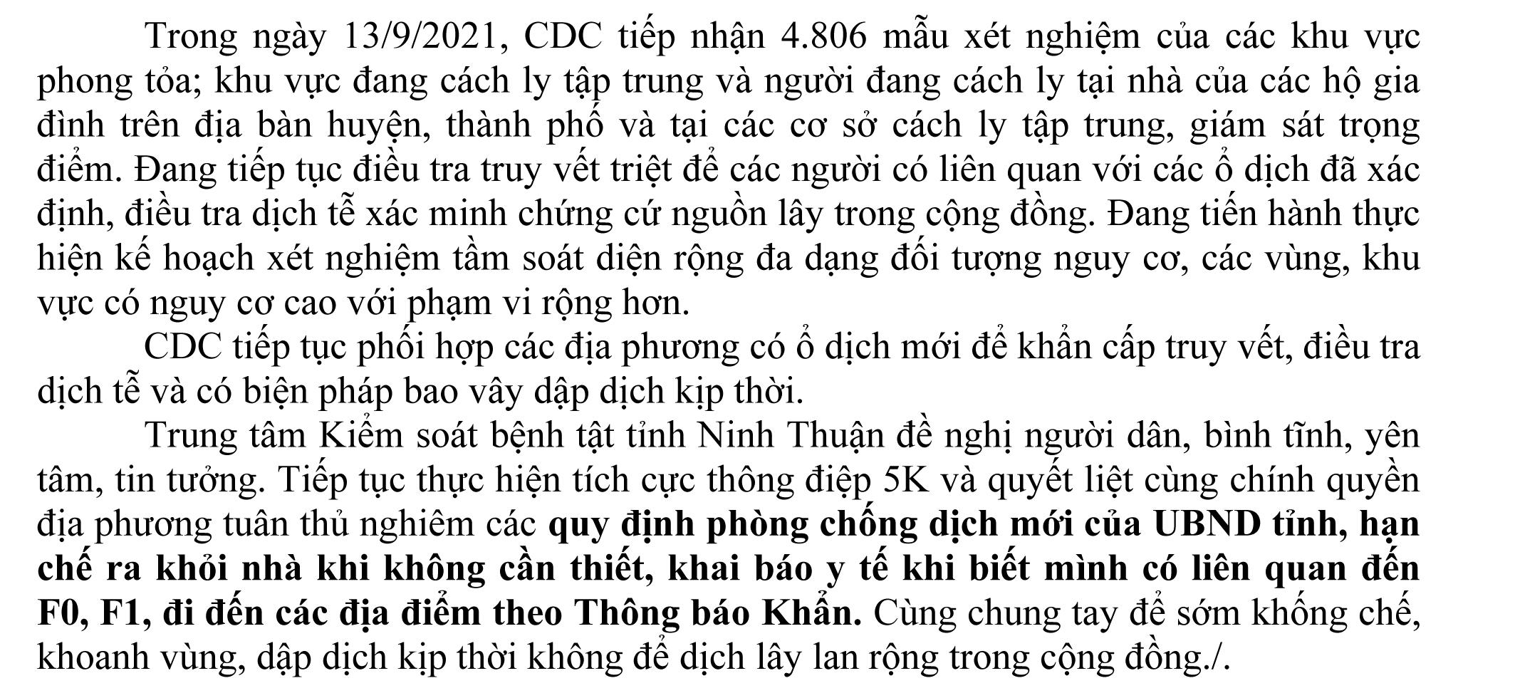 Ngày 13-9 Ninh Thuận ghi nhận 5 ca mắc Covid-19 mới