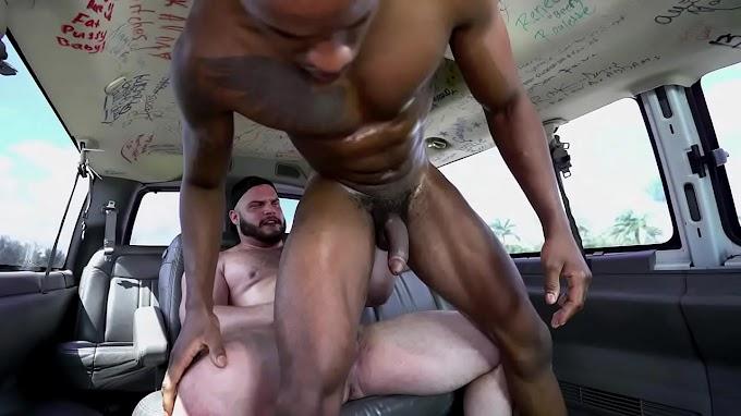 BAIT BUS - Sexo gay inter-racial com urso de isca hetero Daxx Carter e Pheonix Fellington