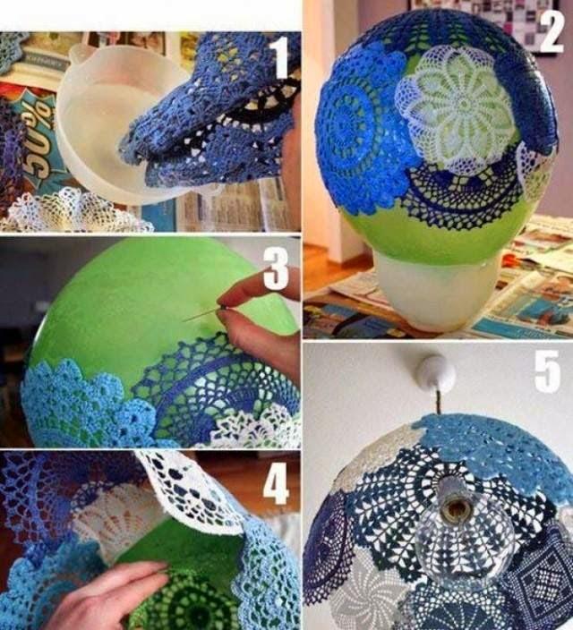 DIY Doily Pendant Lamp 1