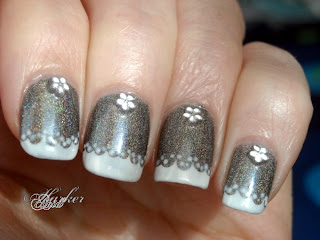 holo lace nail art