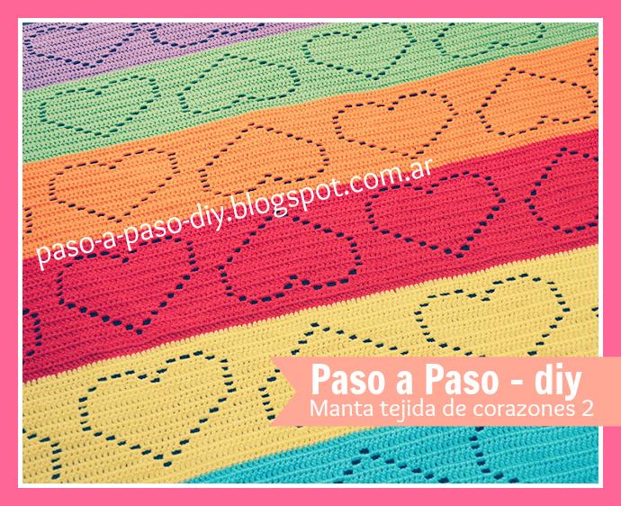 Manta tejida de corazones 2 - DIY | Paso a Paso
