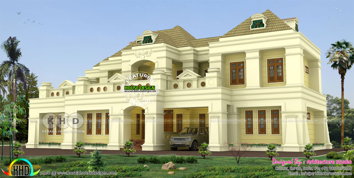 500 square yards 5 bhk colonial residence design kerala for Home design 500 sq yard