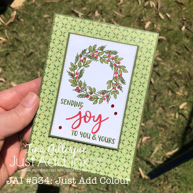 scissorspapercard, Stampin' Up!, Just Add Ink, Joy To The World Paper Pumpkin, Heartwarming Hugs, Stitched Rectangles Dies, Christmas Card