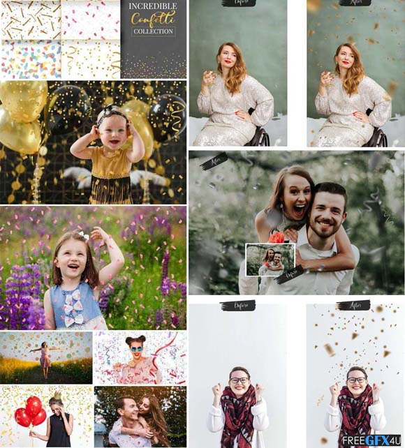 56 Confetti Collection Brilliant Confetti Photo Overlays
