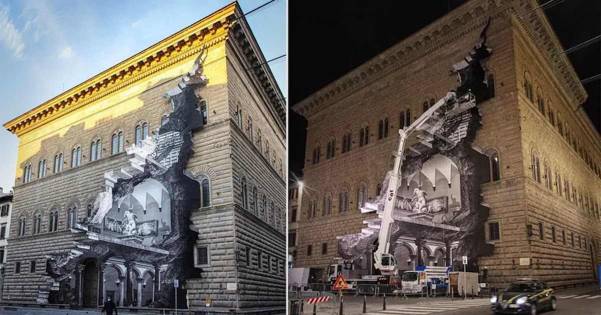 Street Artist Jr Creates Amazing Optical Illusion Of Shuttered Museum Being 'Cracked Open' In Florence