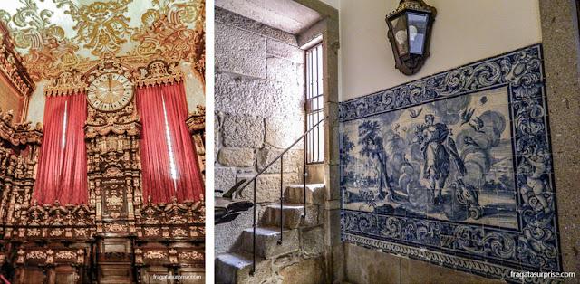 Sé de Braga: Detalhe da decoração do Coro Alto e um painel de azulejos no Museu da Catedral