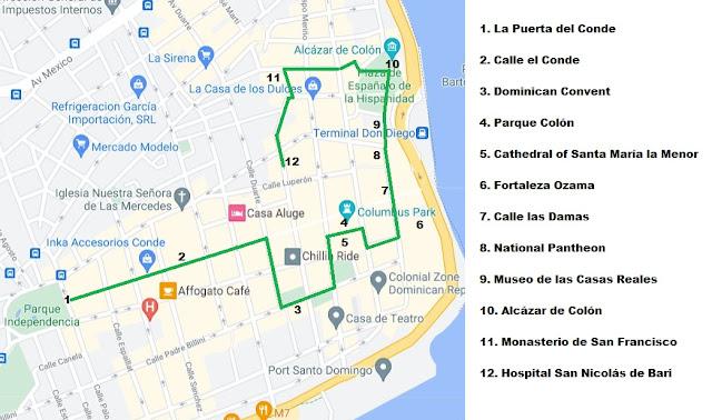 walking tour map zona colonial santo domingo dominican republic