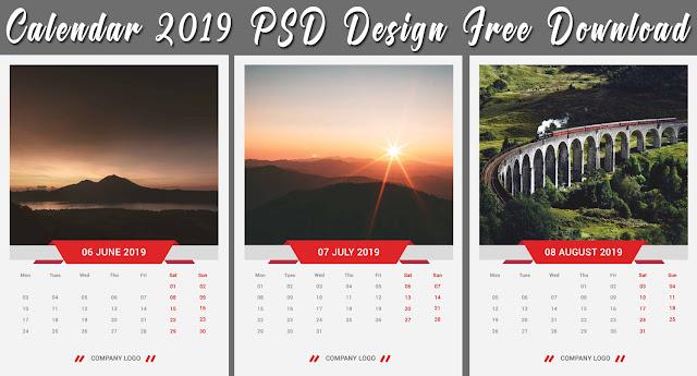 Wall Calendar 2019 PSD Design