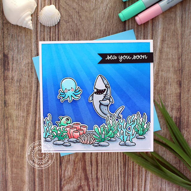 Sunny Studio Stamps: Sea You Soon Tropical Scenes Everyday Punny Card by Vanessa Menhorn