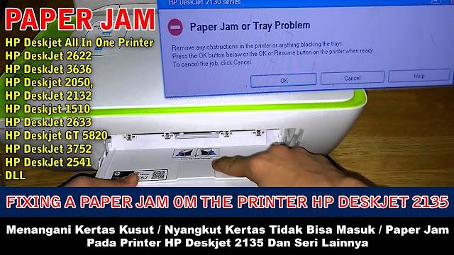 hp 2135 paper jam kertas macet, hp 2135 paper jam, fixing a paper jam on the hp deskjet 2132 Printer, hp printer paper jam troubleshooting and repair, fixing a paper jam