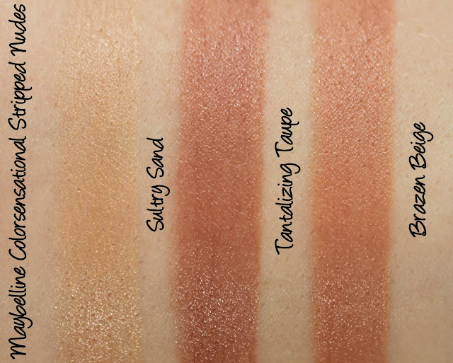 Maybelline Colorsensational Stripped Nudes - Sultry Sand, Tantalizing Taupe and Brazen Beige Lipstick Swatches & Review