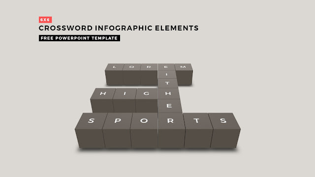 Crossword Puzzles Infographic Elements with 6x6 User's input for PowerPoint Templates