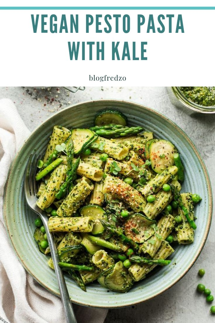 This vegan pesto pasta with homemade kale pesto and spring vegetables makes for a quick and delicious mid-week meal that can be prepared in minutes. It can be gluten-free too!