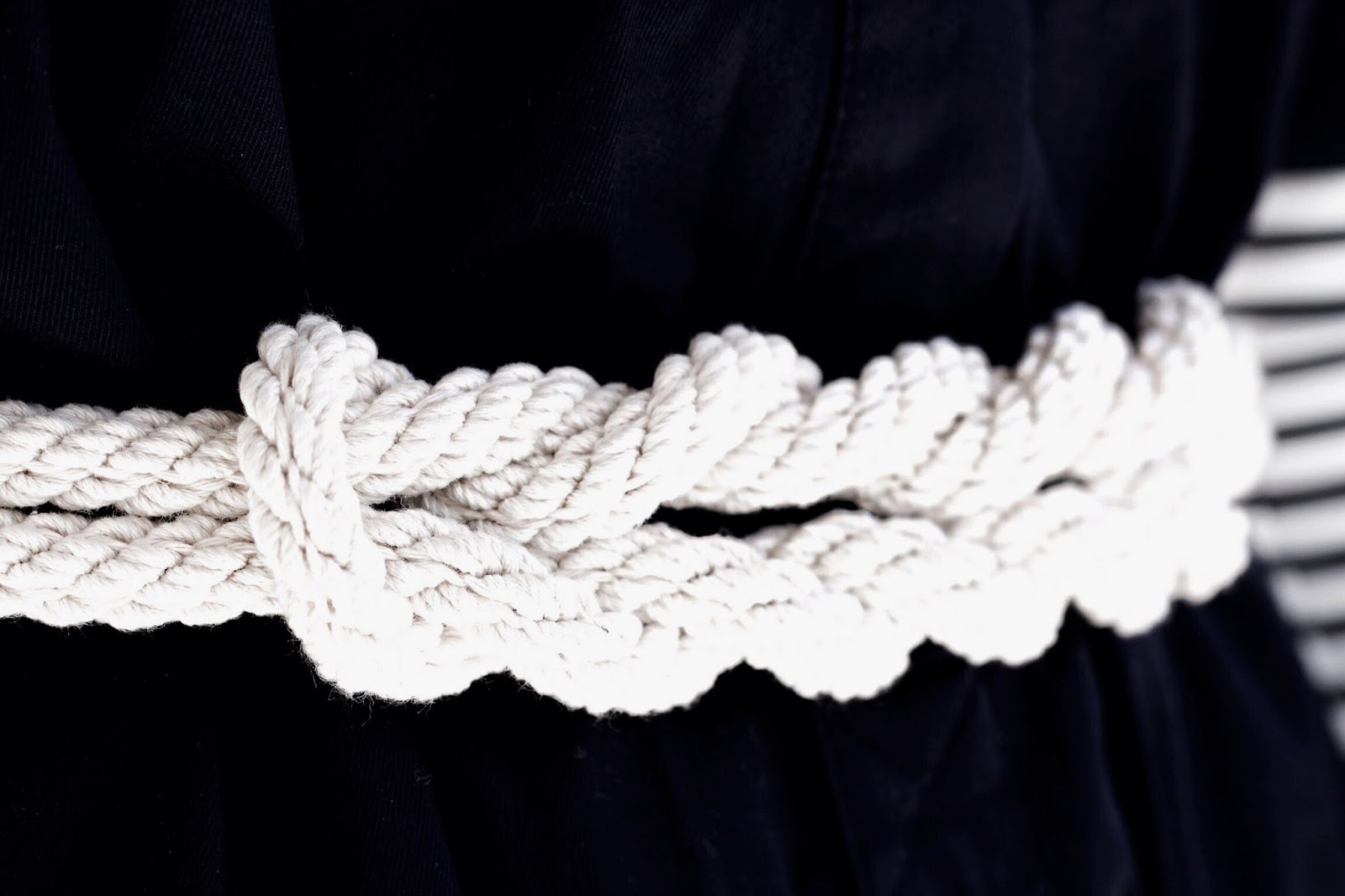 White Knotted Rope Womens Belt