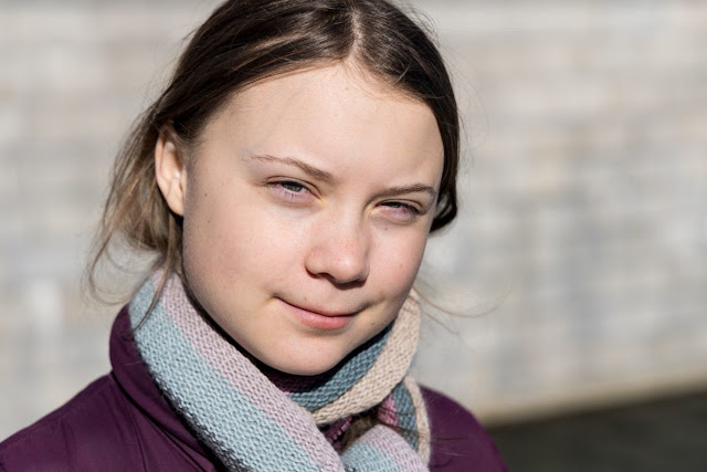 Greta Thunberg (16 years old, Sweden, theme: environment)