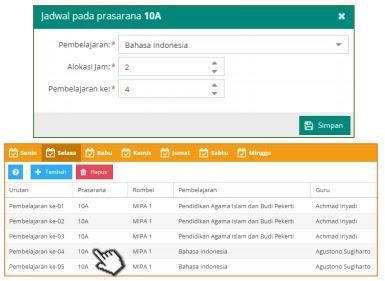 Tampilan jadwal mata pelajaran Bahasa Indonesia