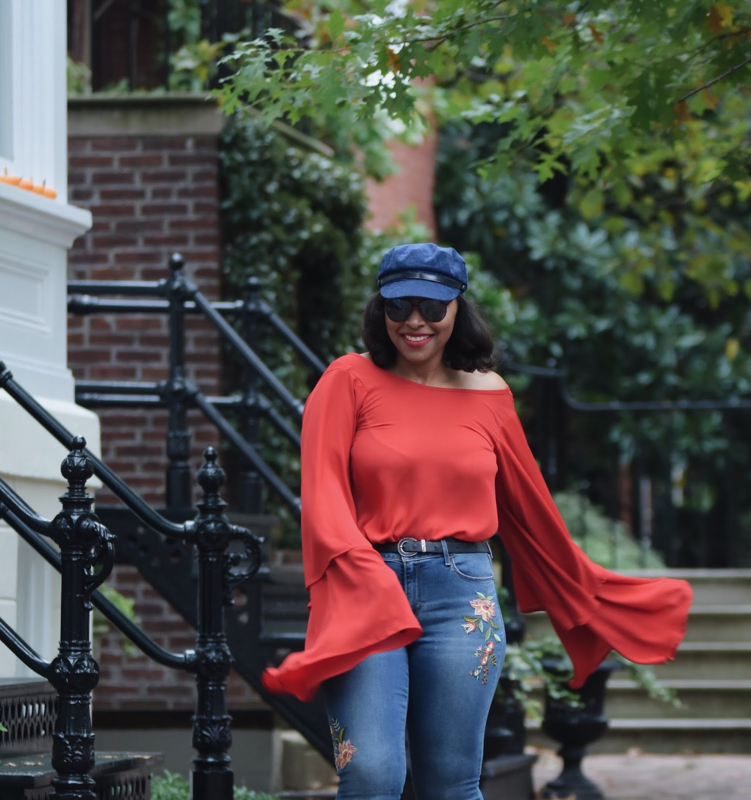 Go Jane, Statement sleeves, flare sleeves, bell sleeves, fall outfits, big sleeve tops, fall outfit ideas, cabbie hat, off the shoulder tops, georgetown