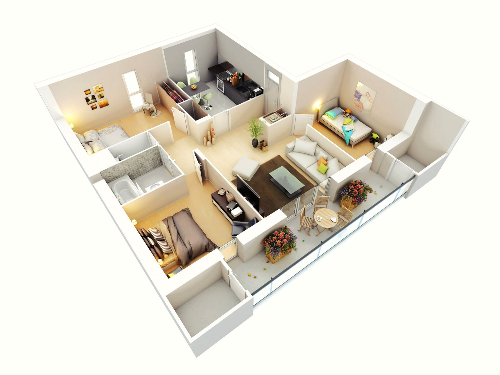 Simple House Design Ideas Part - 28: FREE 3 BEDROOMS HOUSE DESIGN AND LAY OUT