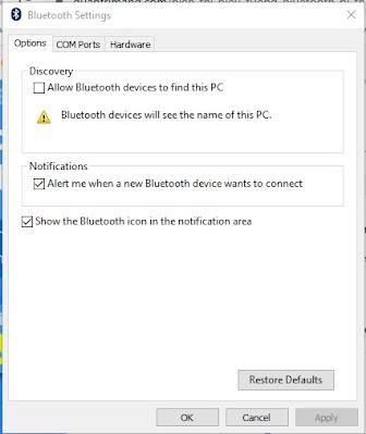 Icon bluetooth hilang di windows 10