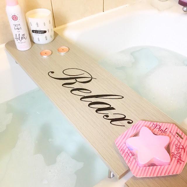 Bath board, candle, shower gel