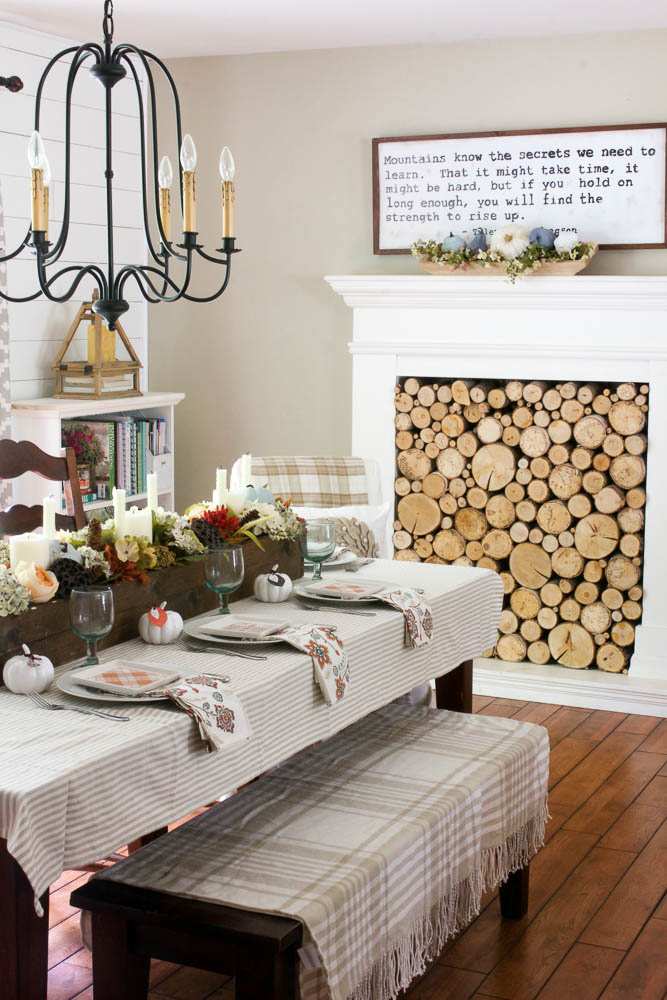 Neutral fall dining room with DIY wood box centerpiece