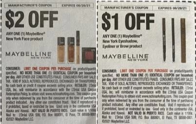 """Maybelline New York Face product Coupon from """"SAVE"""" insert week of 8/1/21."""