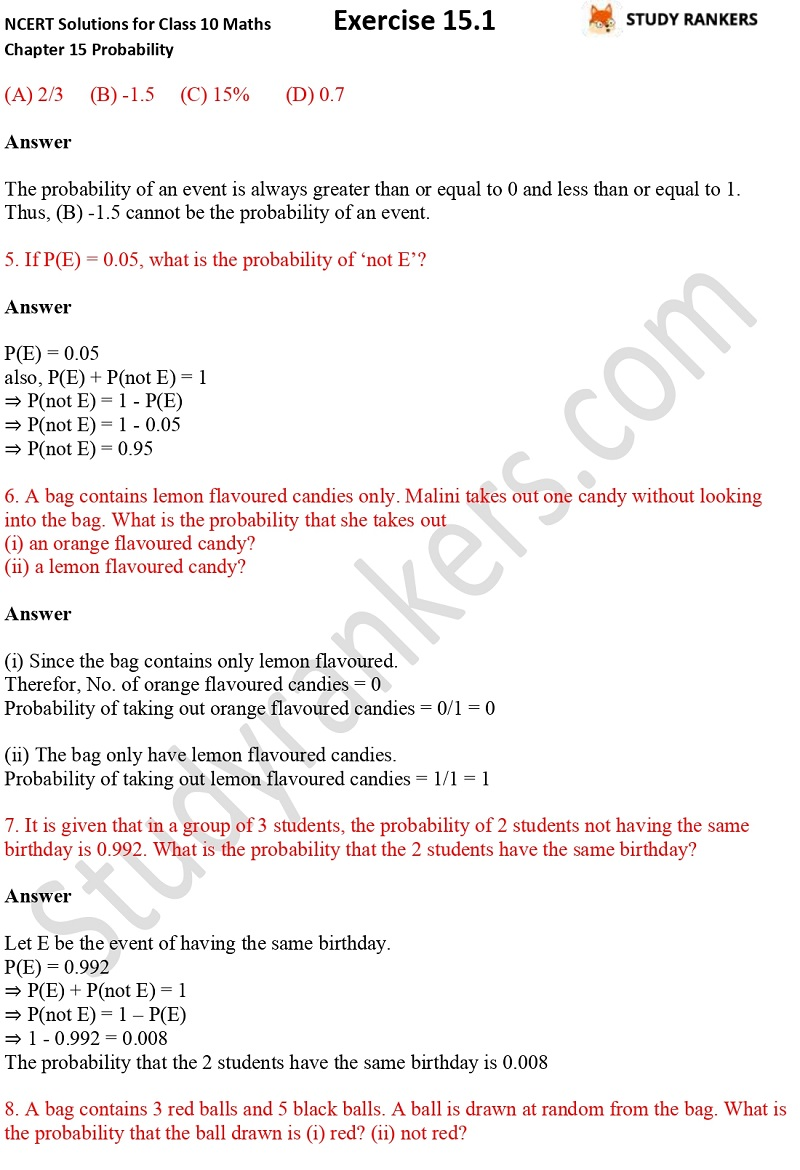 NCERT Solutions for Class 10 Maths Chapter 15 Probability Exercise 15.1 Part 2