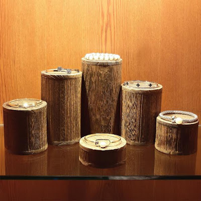 Wooden Round Risers Display showcasing bracelets