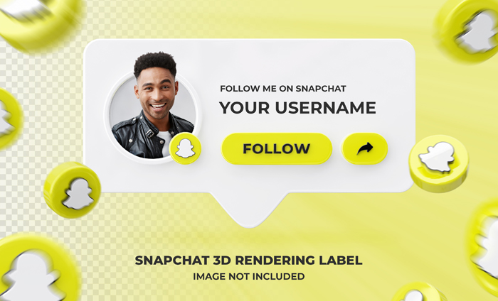 Banner Icon Profile Snapchat 3D PSD Rendering Label Template