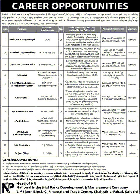 National Industrial Parks Jobs July 2020