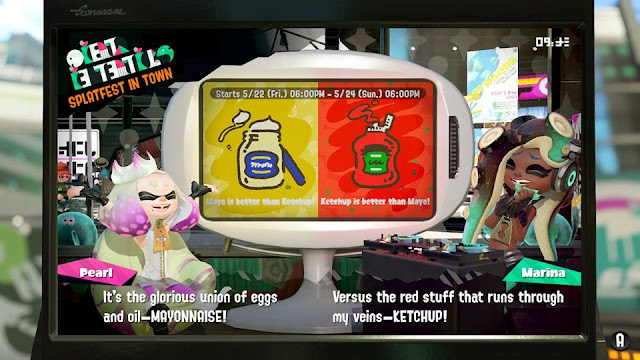 Splatoon 2 Splatfest Mayonnaise vs. Ketchup encore rerun introduction Pearl Marina show