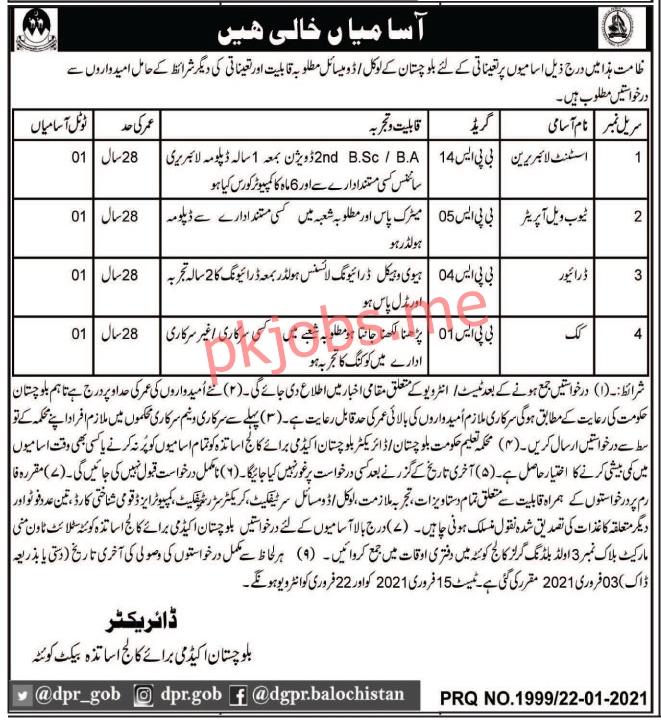 Latest Balochistan Academy for College Teachers Education Posts 2021