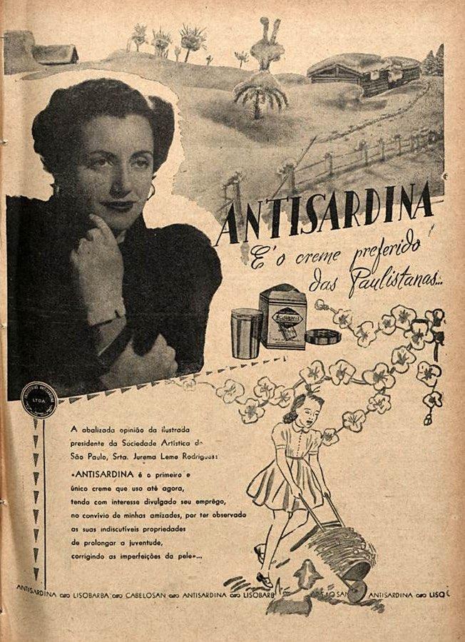 Propaganda antiga do Creme Antisardina com recomendação de personalidades em 1952