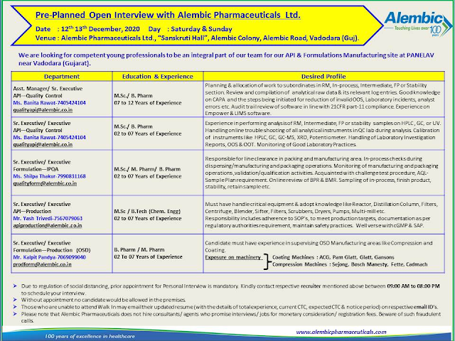 Alembic Pharma | Walk-in for Production/QC/QA on 12&13th Dec 2020