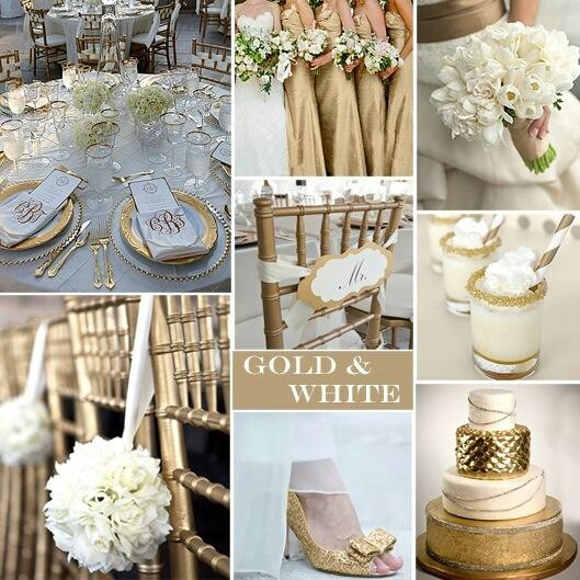 golden and white wedding
