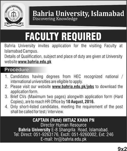 Teaching Faculty Jobs in Pakistan Bahria University Jobs In Islamabad Download Application Form