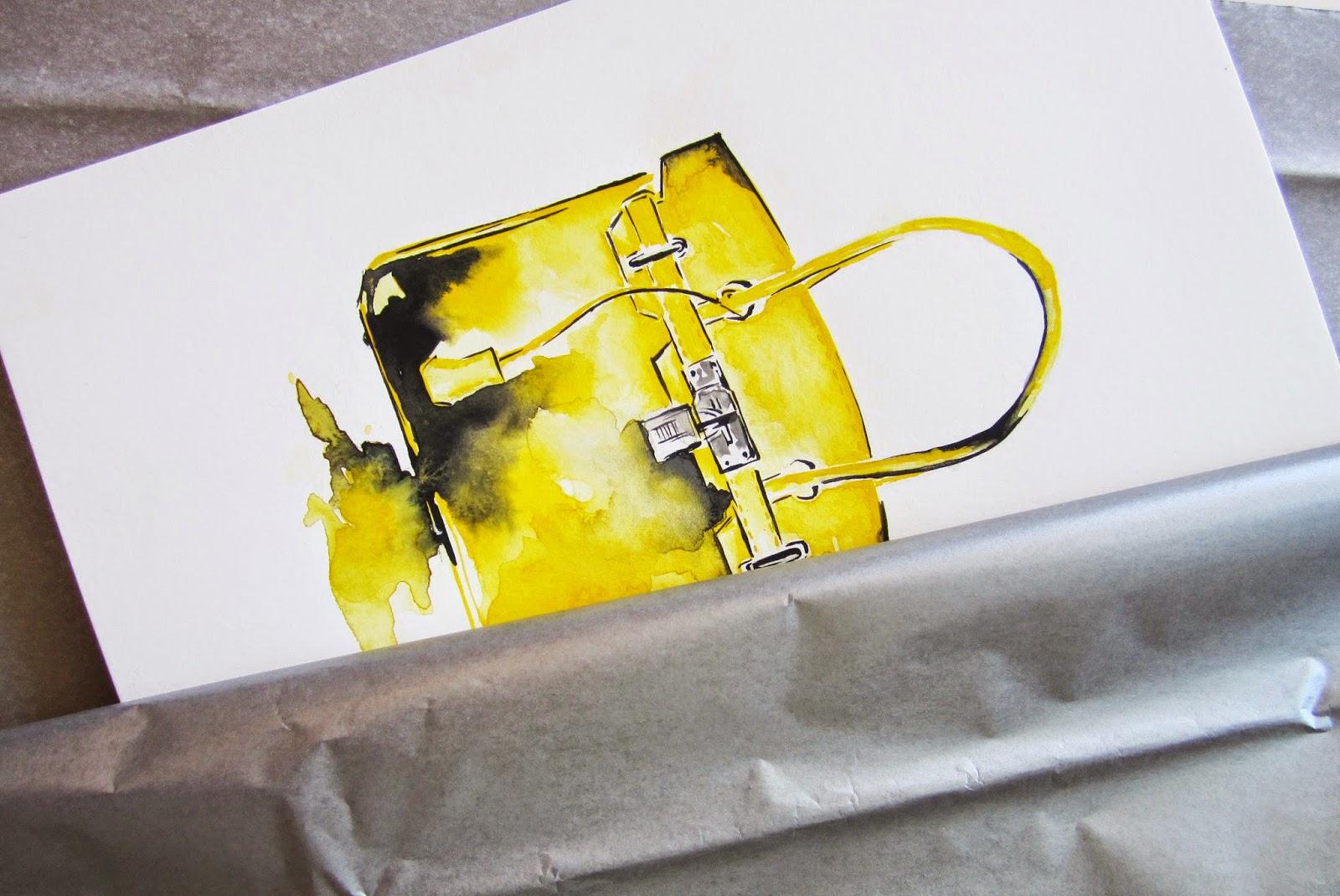 82d71b6363 Koma Art  Yellow Hermes Bag - Fashion Illustration