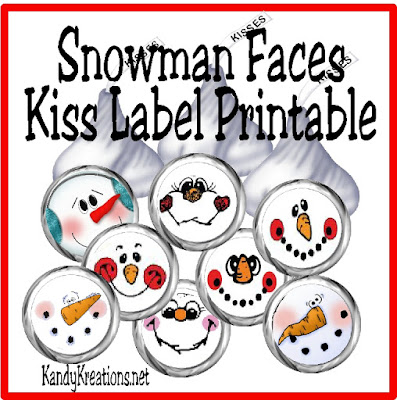 Dress up sweet Heshey Kiss bottoms with these cute Snowman Faces. This kiss label free printable will help you add a little extra fun to a Snow day, a Sledding party, or just a cold January afternoon.