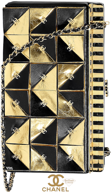 Brilliant Luxury♦Chanel Black and Gold Evening Clutch #bags